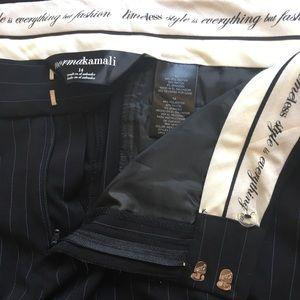 Norma Kamali Cropped Indigo Stripe Dress Pants